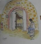 Urban sketcher dibujando en el interior de una de las bóvedas.